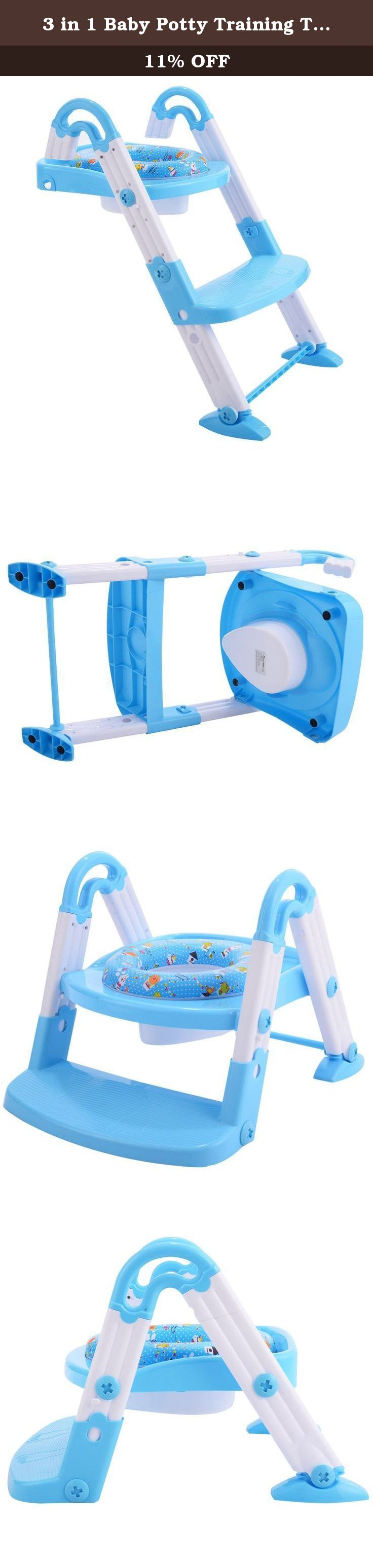 3 in 1 Baby Potty Training Toilet Chair Seat Step Ladder Trainer ...