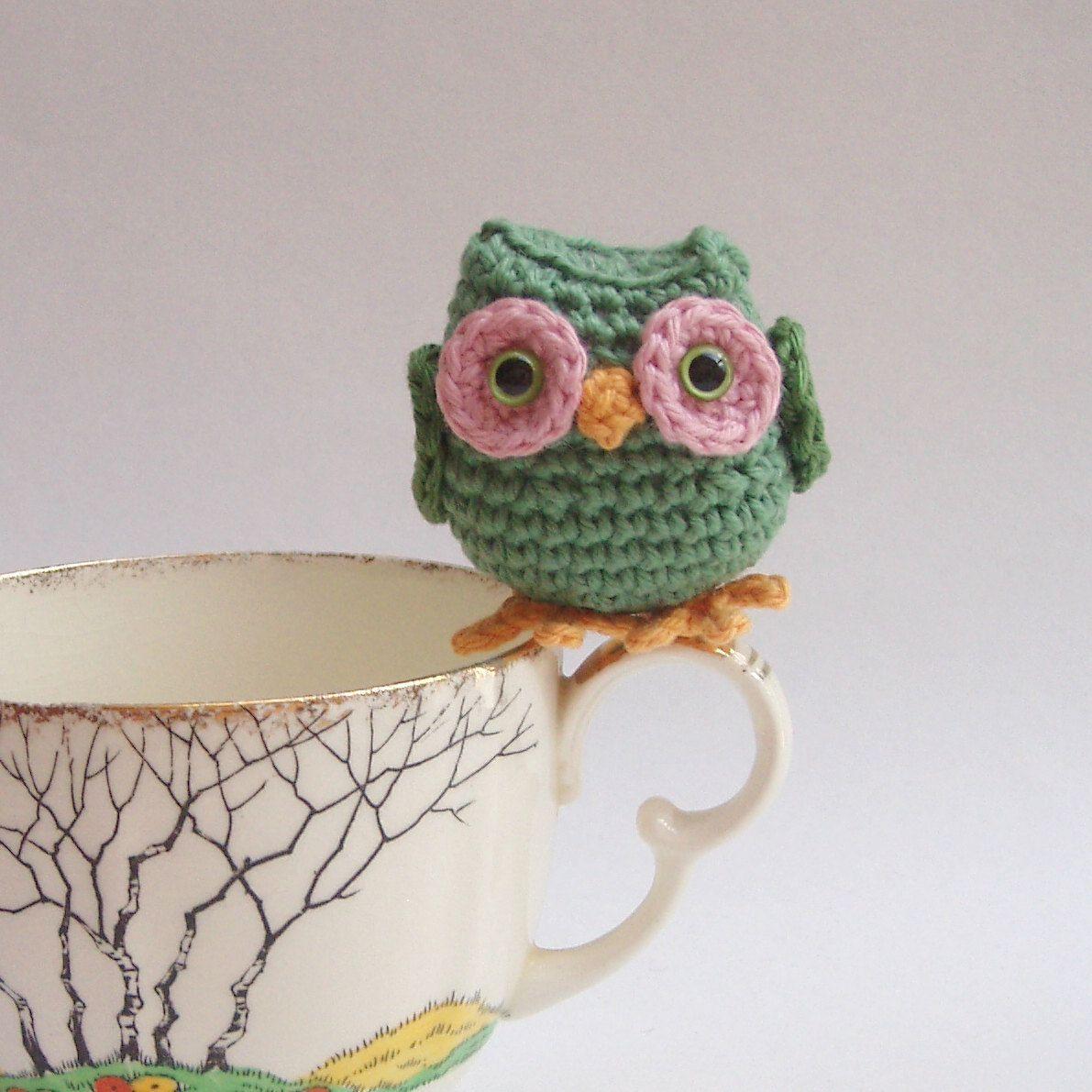 crochet owl, tiny green crochet amigurumi owl. $15.00, via Etsy.