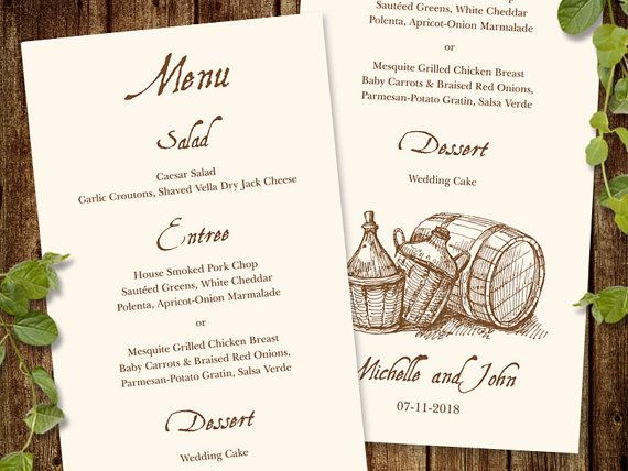 "Rustic Wedding Menu Template ""Wine Country"". Vineyard Wedding Menu"