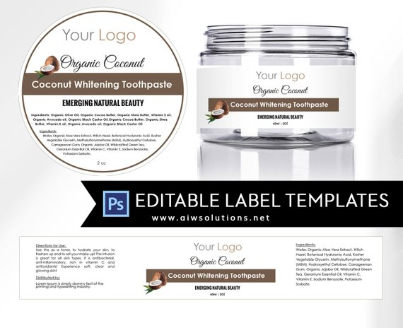 Coconut Label Template 4oz Label 8oz Label Template Skin Etsy Cosmetic Labels Label Templates Packaging Template