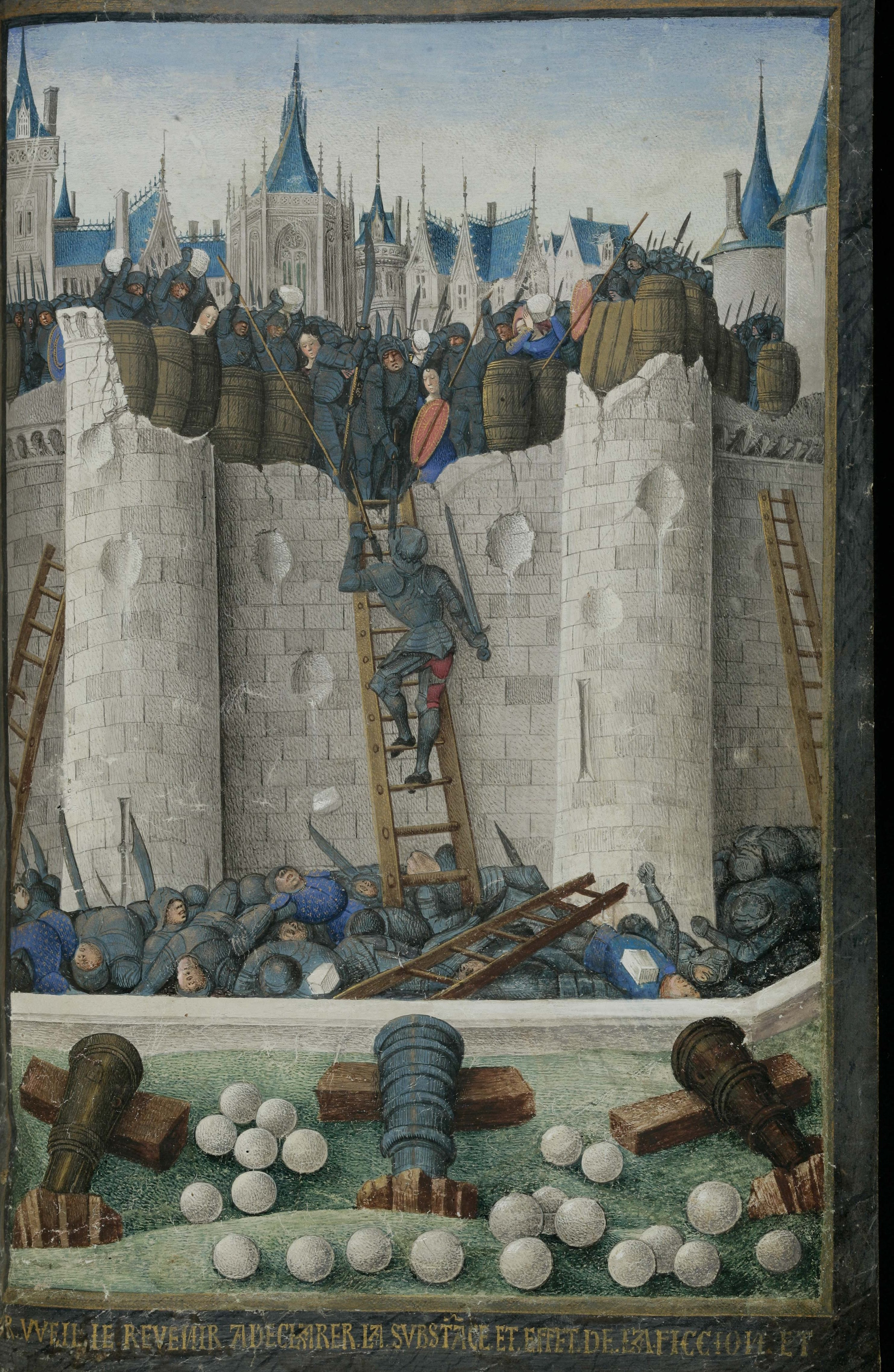 Siege Scene Showing One Iron And Two Bronze Cannon On