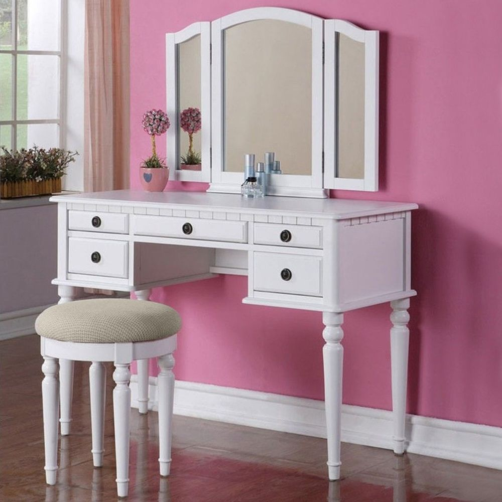 Modern dresser with mirror and chair - French Vintage White Dressing Table Vanity Makeup Desk With 3 Mirror Stool Set