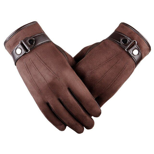 Thermal Leather Gloves Men Winter Warm Touch Screen Driving Gloves Black