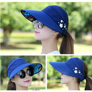 High-quality Women Ladies Summer Outdoor Gardening Anti-UV Foldable Beach  Sunscreen Sun Hat Flower Print Cap - NewChic Mobile. 75f989339ab8
