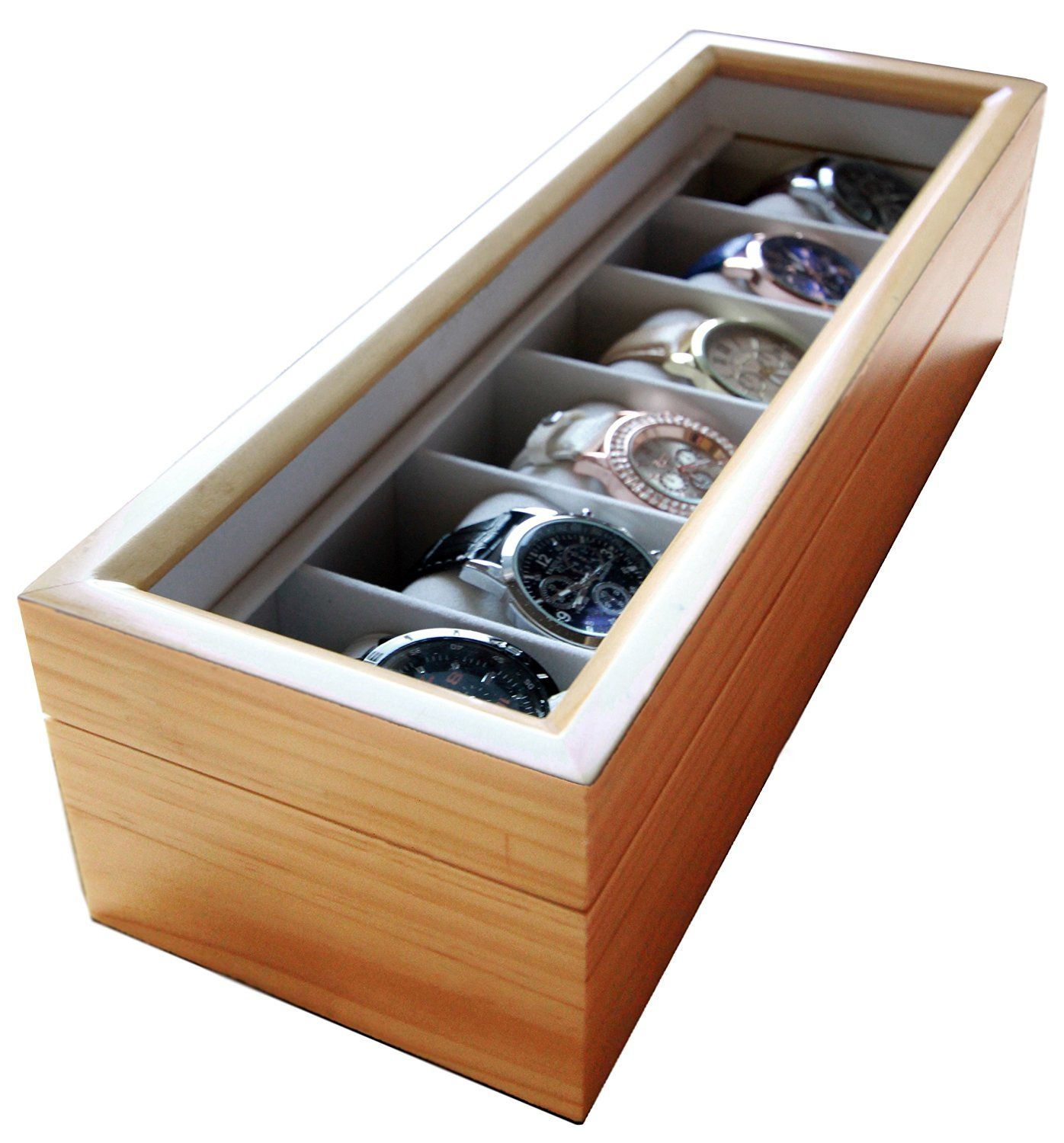 amazon com solid light wood watch box organizer with glass display