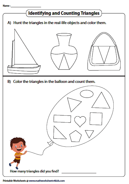 Coloring Tracing And Drawing Triangles Worksheets Triangle Worksheet Color Worksheets
