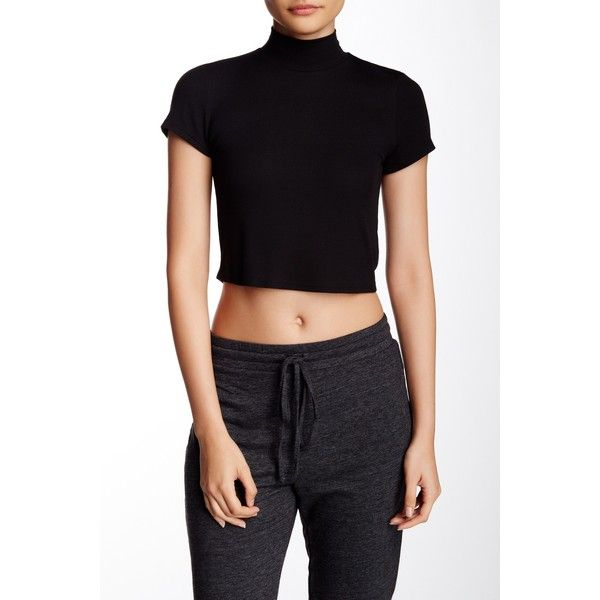 2cda9978a9b Lanston Short Sleeve Cropped Turtleneck ($30) ❤ liked on Polyvore featuring  tops, black, short sleeve crop top, turtle neck crop top, short sleeve ...