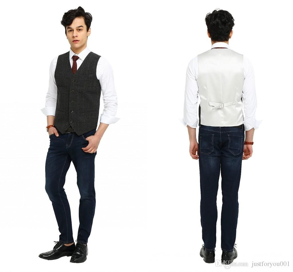 2017 Airtailors Vintage Gray Checked Tweed Vest Men Suit Vest Slim