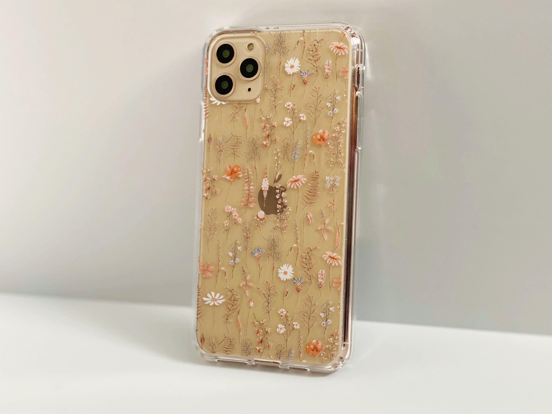 Boho fall wild flower clear phone case for iphone 12 mini