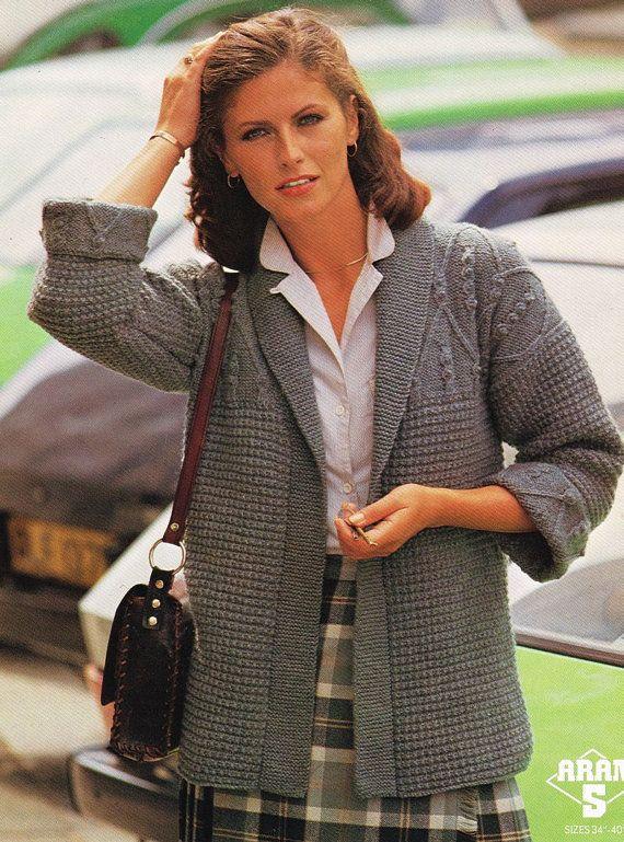 Sweater Coat Knitting Pattern : Ladies aran coat edge to cardigan vintage knitting
