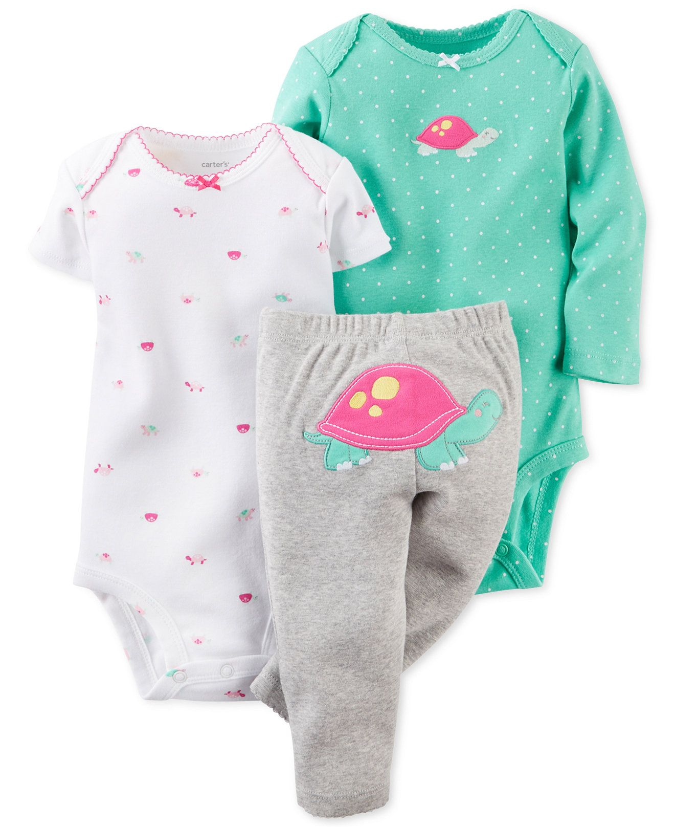 e5f80bfe23b05 Carter's Baby Girls' 3-Piece Turtle Bodysuits & Pants Set - Kids ...
