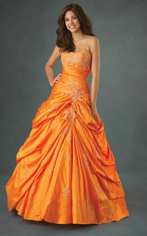 Robe de cocktail orange et blanc