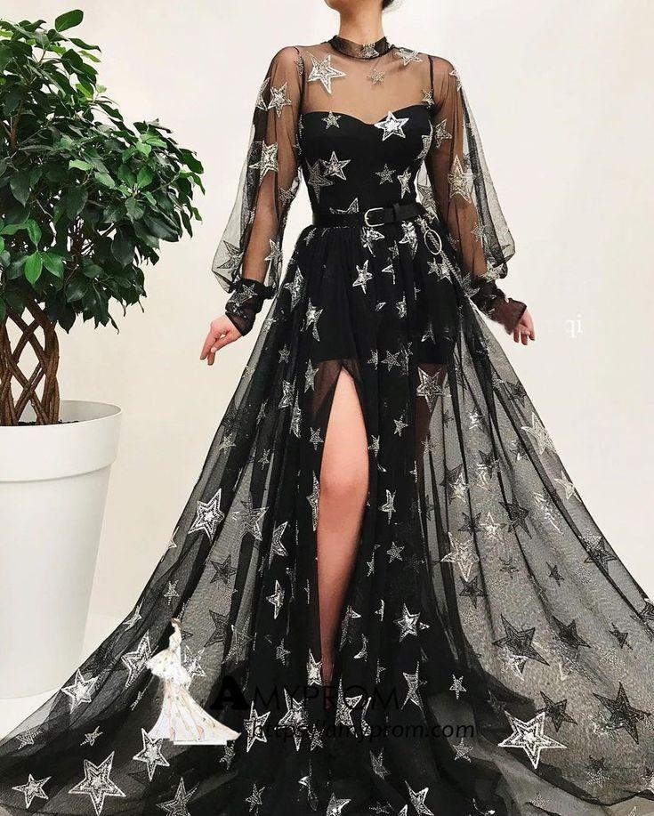 Schwarzes langes Abendkleid mit hohem Kragen und glitzernden Langarm-Kleidern Wunderschöne Abendkleider AMY2877 #promdresseslong