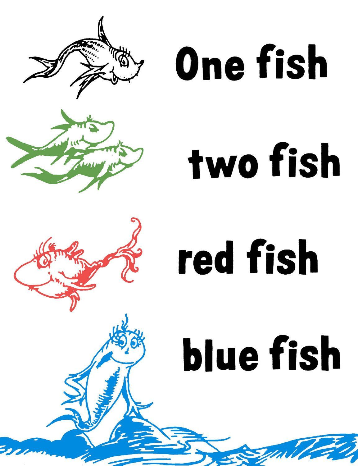 One Fish Two Fish Red Fish Blue Fish Coloring Page Youngandtae Com Red Fish Blue Fish Fish Coloring Page One Fish