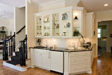 Wrap Around Kitchen Cabinets Coffee Bar Glass Front Cabinets Great