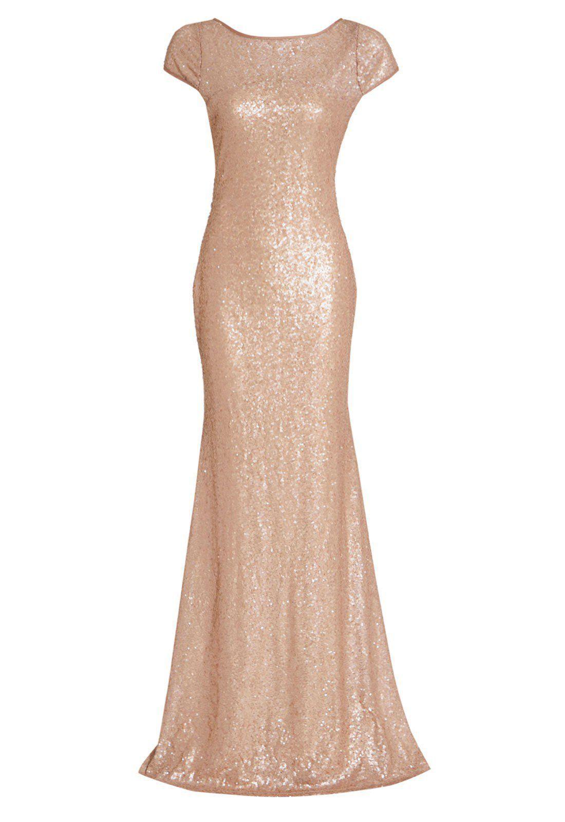 Danna rose gold sequin embellished maxi dress dark smokey eye