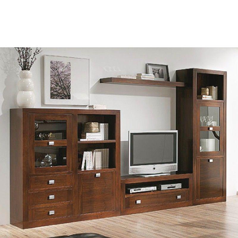 Muebles para salon comedor madera nogal en 2019 mallas for Muebles salon madera maciza