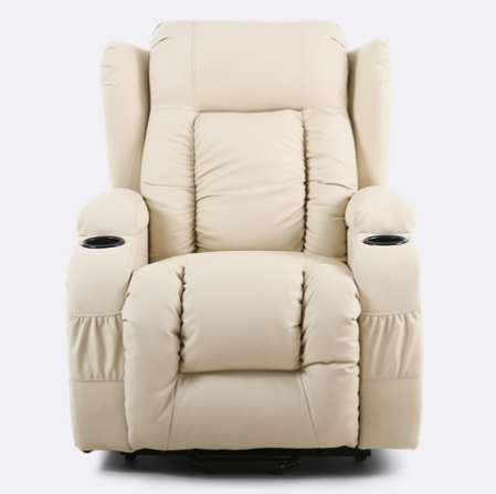 Rockingham Leather Rise Recliner Chair With Massage And Heat In Cream Electric Recliners Recliner Chair Round Sofa Chair