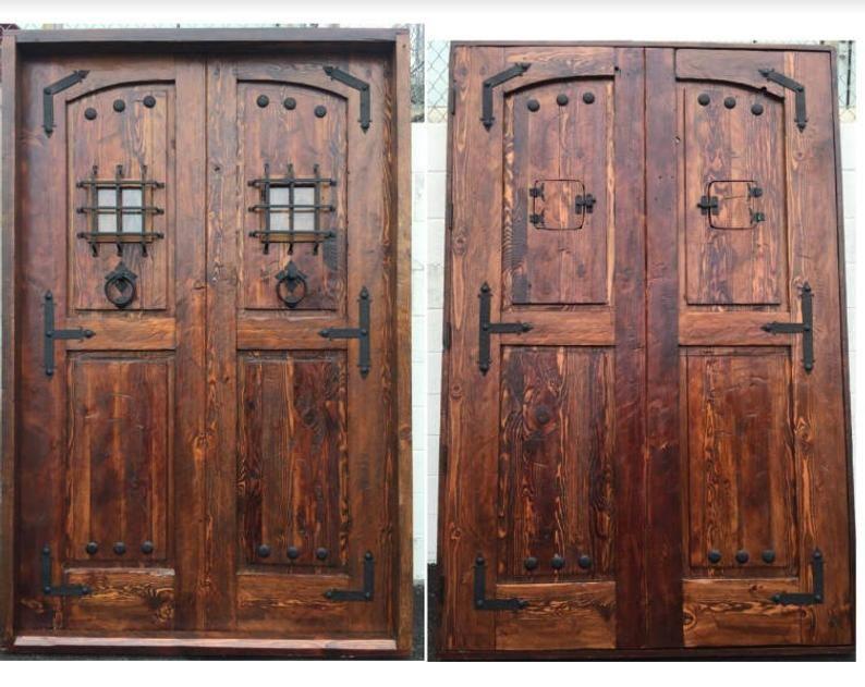 Reclaimed Lumber Rustic Square Top Double Doors W Hand Etsy In 2020 Rustic Doors Double Doors Reclaimed Lumber