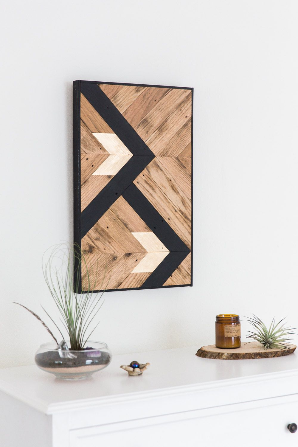 Reclaimed wood wall art black and gold arrow design wooden wall