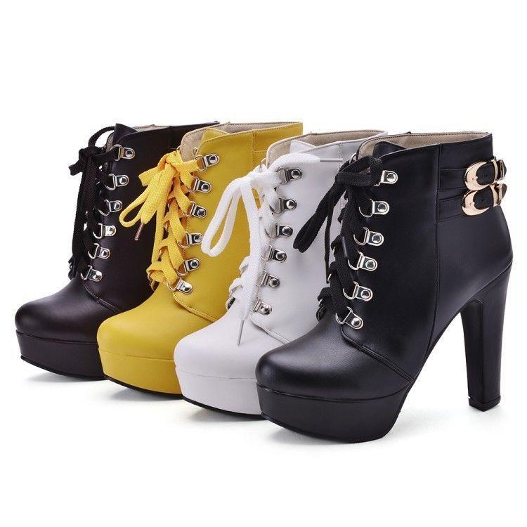 d0621647e1426 Chic Womens Lace Up Buckle Strap Block High Heels Platform Ankle Boots Plus  Size