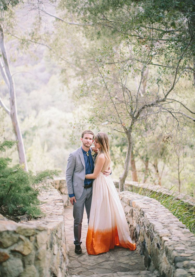 Nature wedding dress  Dip Dye Wedding Dress Trend Adds a Playful Touch of Color to a