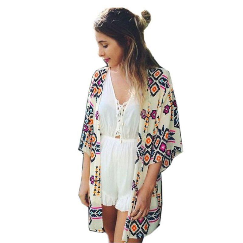 Summer Beach Women Chiffon Cover Up Geometric Kimono Blouse Lady ...