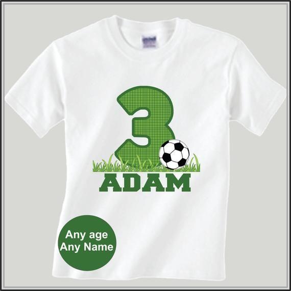 0d58285bcec Boys Personalized Soccer Birthday Shirt Sports Birthday Shirt in ...