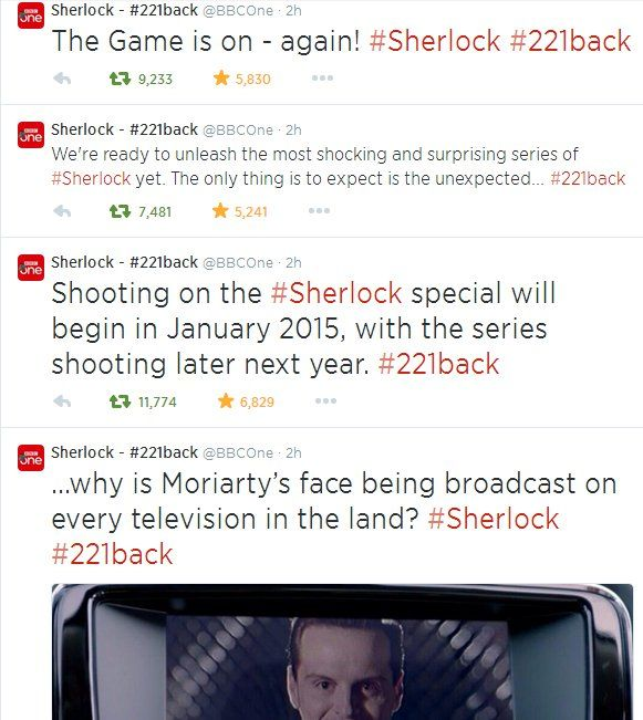 Pin for Later: Sherlock's Return Causes an Internet Fandom Meltdown  The BBC had some evil fun with the Sherlock announcement. Source: Tumblr user supernaturally-marvelous