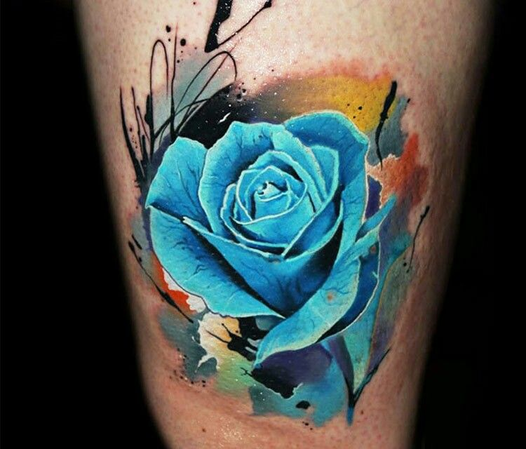 Blue Rose Tattoo By Alberto Cuerva Albertocuerva Graphic