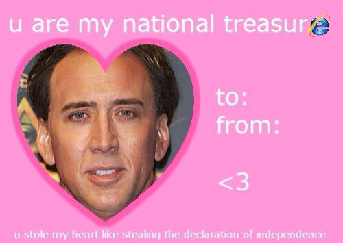 You\'re my national treasure Valentines Day Card Nicholas Cage ...