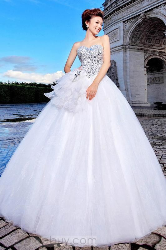 Awesome Ball Gown Sweetheart Beading Ruggles Floor-length Wedding ...