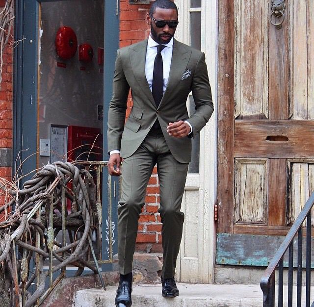 Really digging this Olive color suit