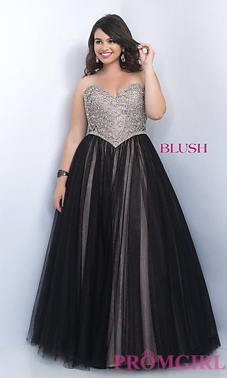 Black Strapless Ball Gown Style Plus Size Prom Dress by Blush at ...