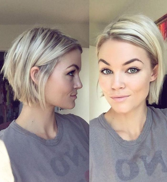 Tucked Behind The Ear Short Sassy Haircuts Smiling Young Woman With Platinum Blonde Hai Bob Hairstyles For Fine Hair Short Hairstyles Fine Thick Hair Styles