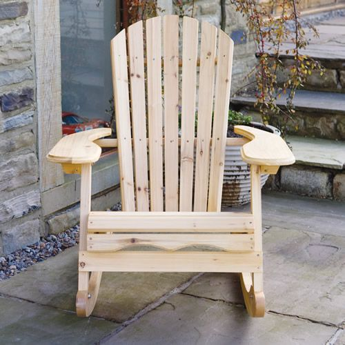 Garden Patio Furniture Garden Adirondack Rocking Chair in Natural Wood Finish