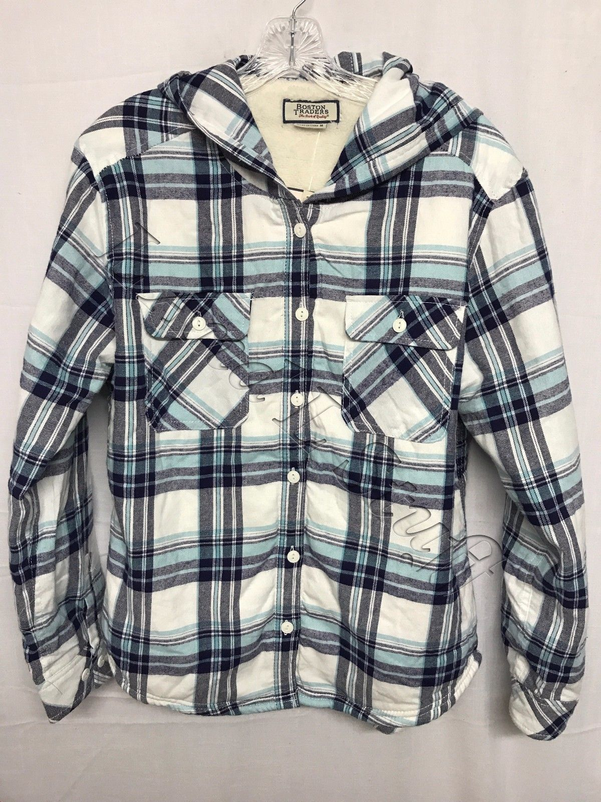 Flannel jackets with hood  Boston Traders Womenus Sherpa Lined Hooded Flannel Shirt Jacket NWOT
