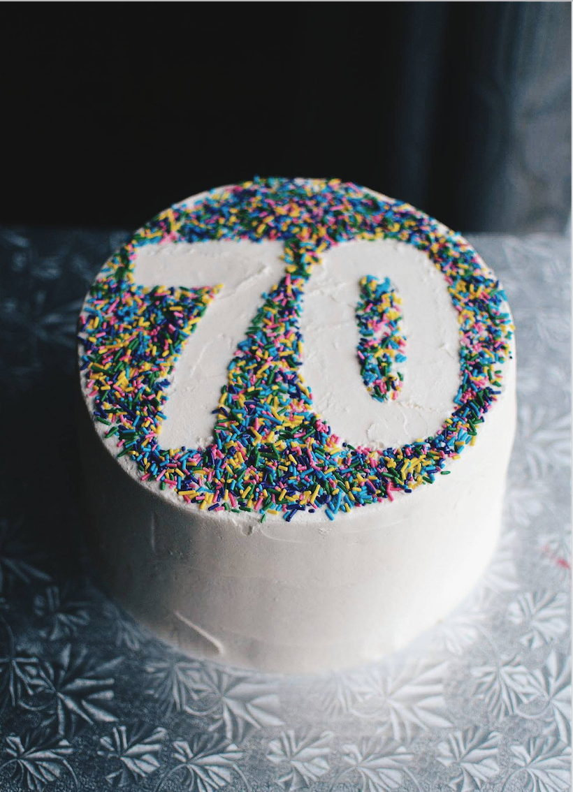 70th Sprinkle Birthday Cake