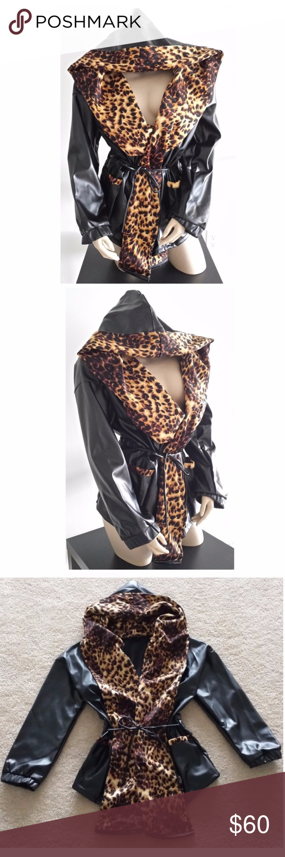 Leopard Black Faux Leather Hoodie Trench Jacket Faux