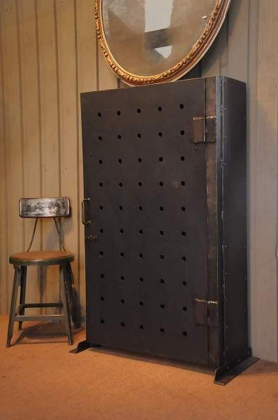 Vintage Industrial Metal Doors : French vintage industrial metal cabinet or bookcase with