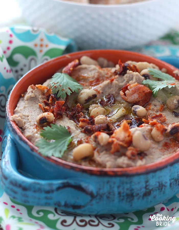 Bacon and Black Eyed Pea Hummus - The Cooking Bride