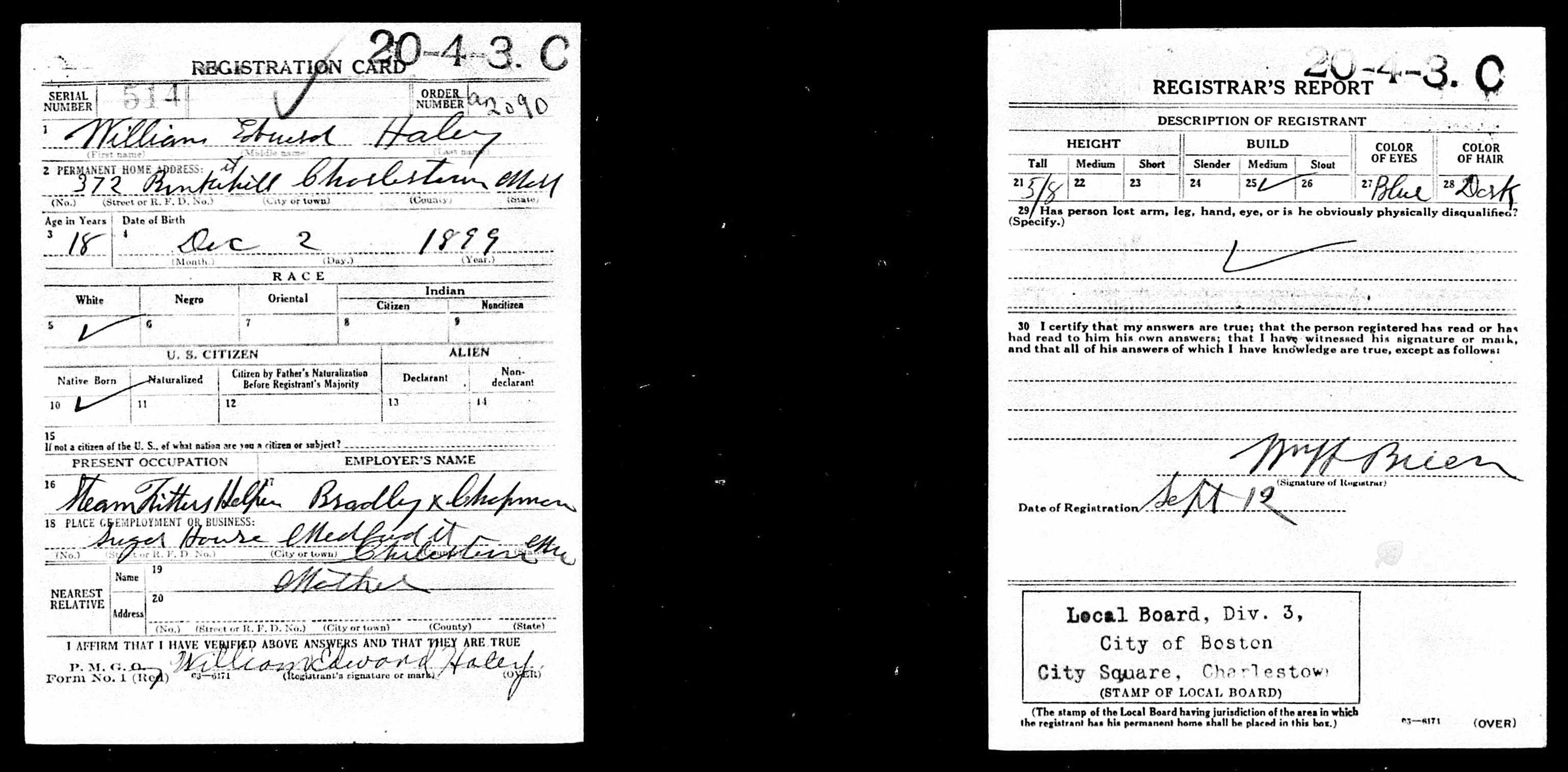 William Edward Haley Wwi Draft Registration Family Genealogy Sheet Music Wwi