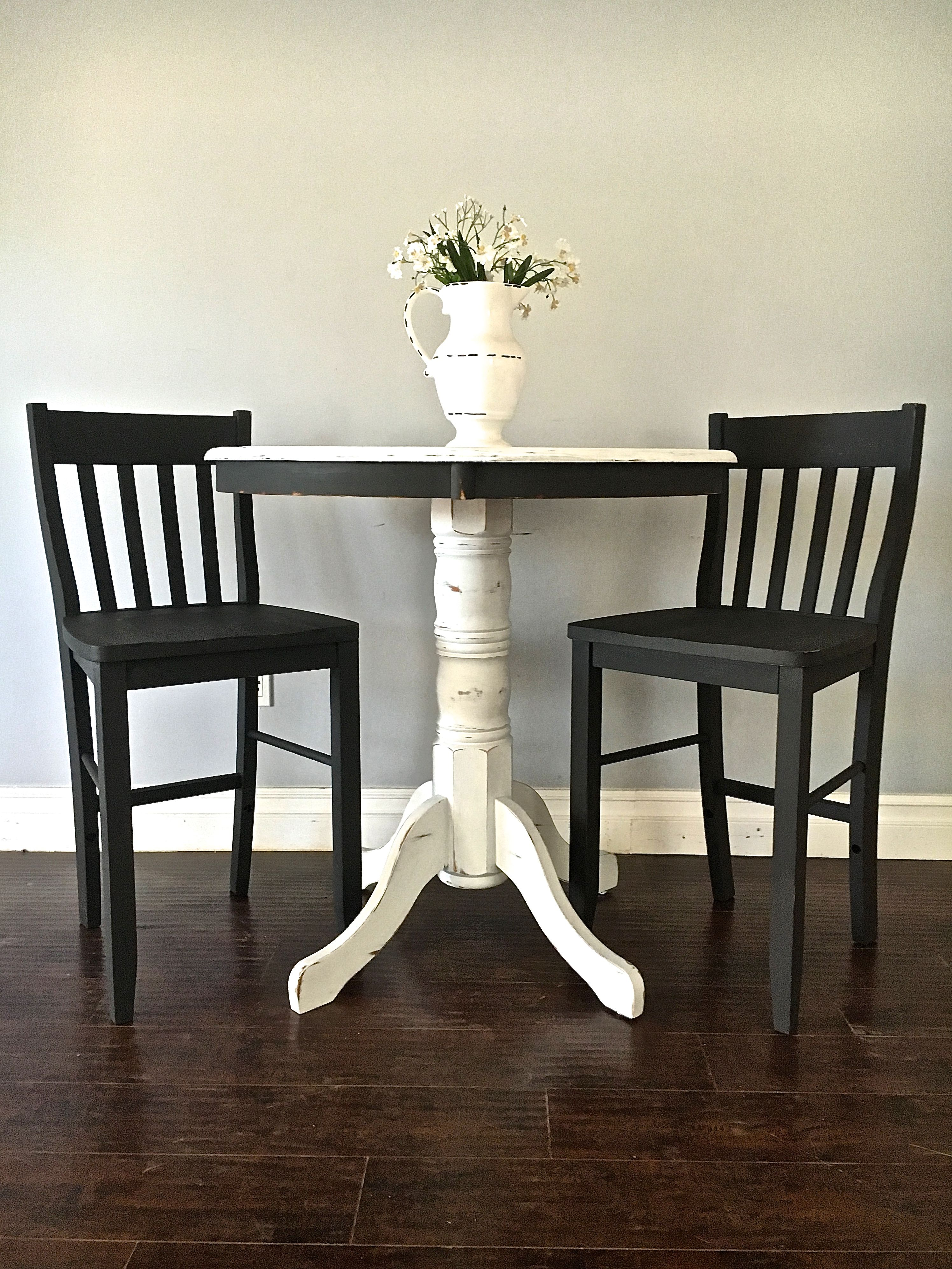 Shabby Chic Black White Pub Table Set 350 Sold Shabby