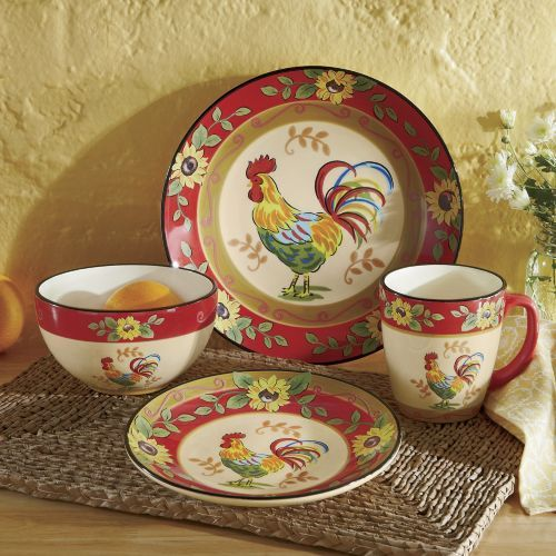 Amazing 16 Piece Sunflower Rooster Dinnerware Set From Seventh Avenue ®