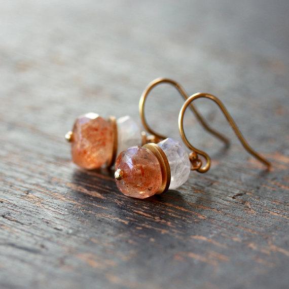 Oregon Sunstone Earrings White Moonstone Gold Gemstone Stack Handmade Earrings on Etsy, $68.00