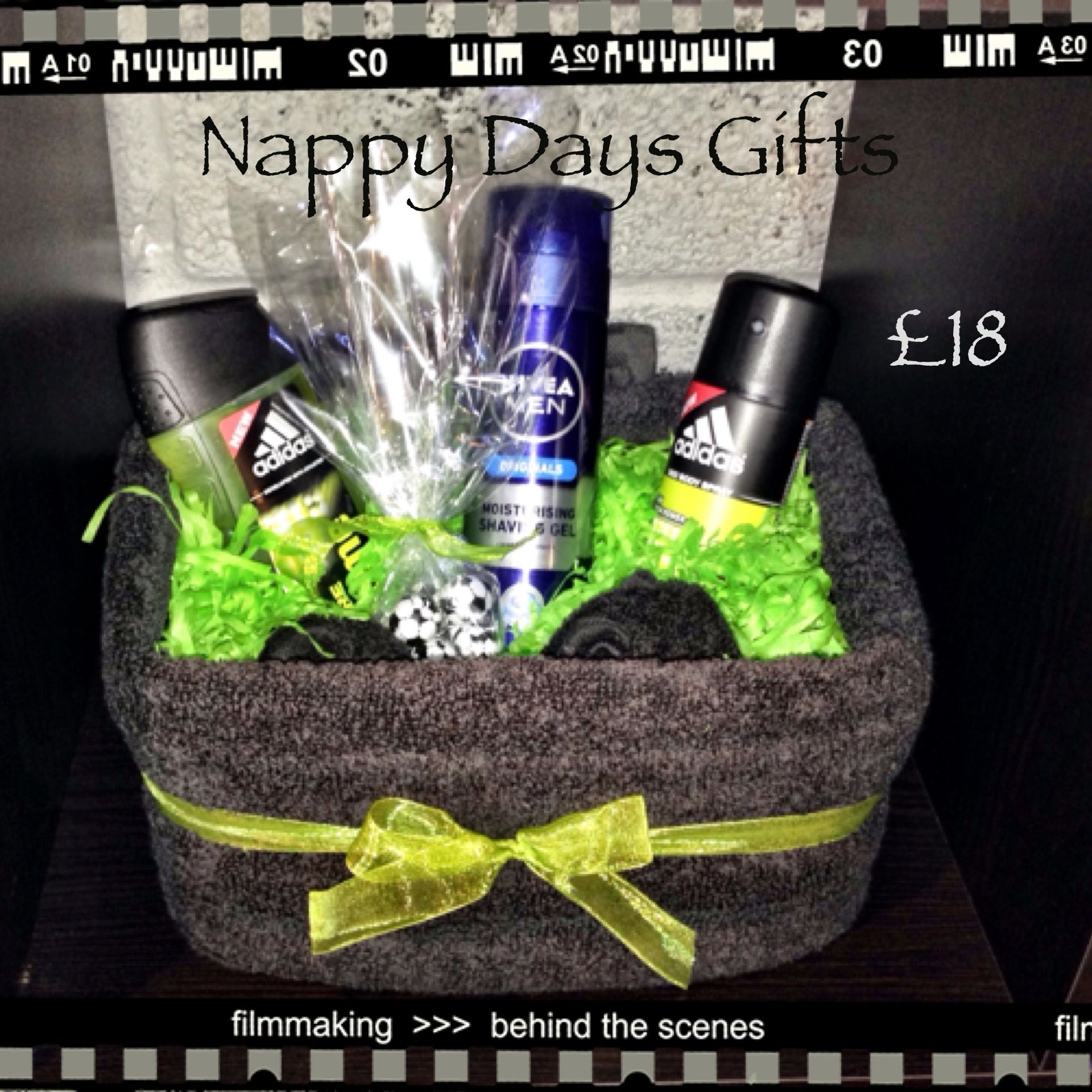 Something for the Boys - £18  Hand towel, flannels and men's toiletries with football themed chocolates.    For anyone with a specific sport in mind, email me at nappydaysgifts@gmail.com and order your unique gift, maybe with team colours?