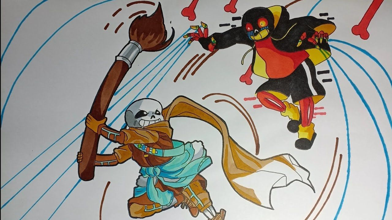 How To Draw Ink VS Error SANS Cách vẽ 2 Sans Giao Chiến in 2021