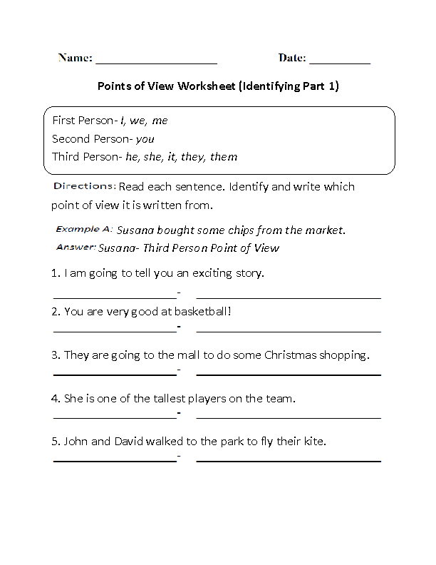 Point Of View Worksheet 2 : point, worksheet, Identifying, Points, Worksheet, Reading, Literature,, Authors, Point, View,, Common