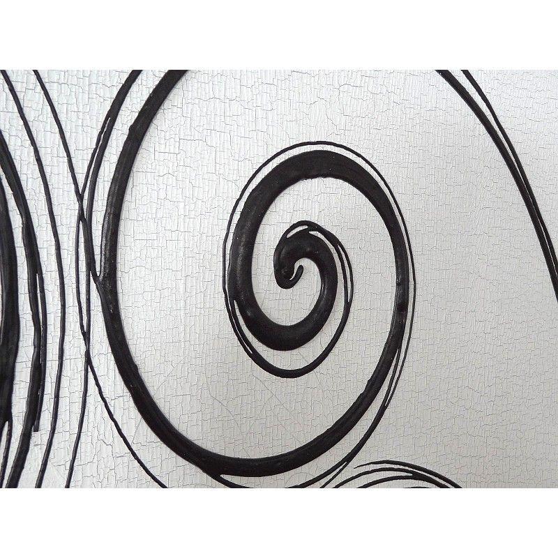 cuadro abstracto crculos blanco negro gris