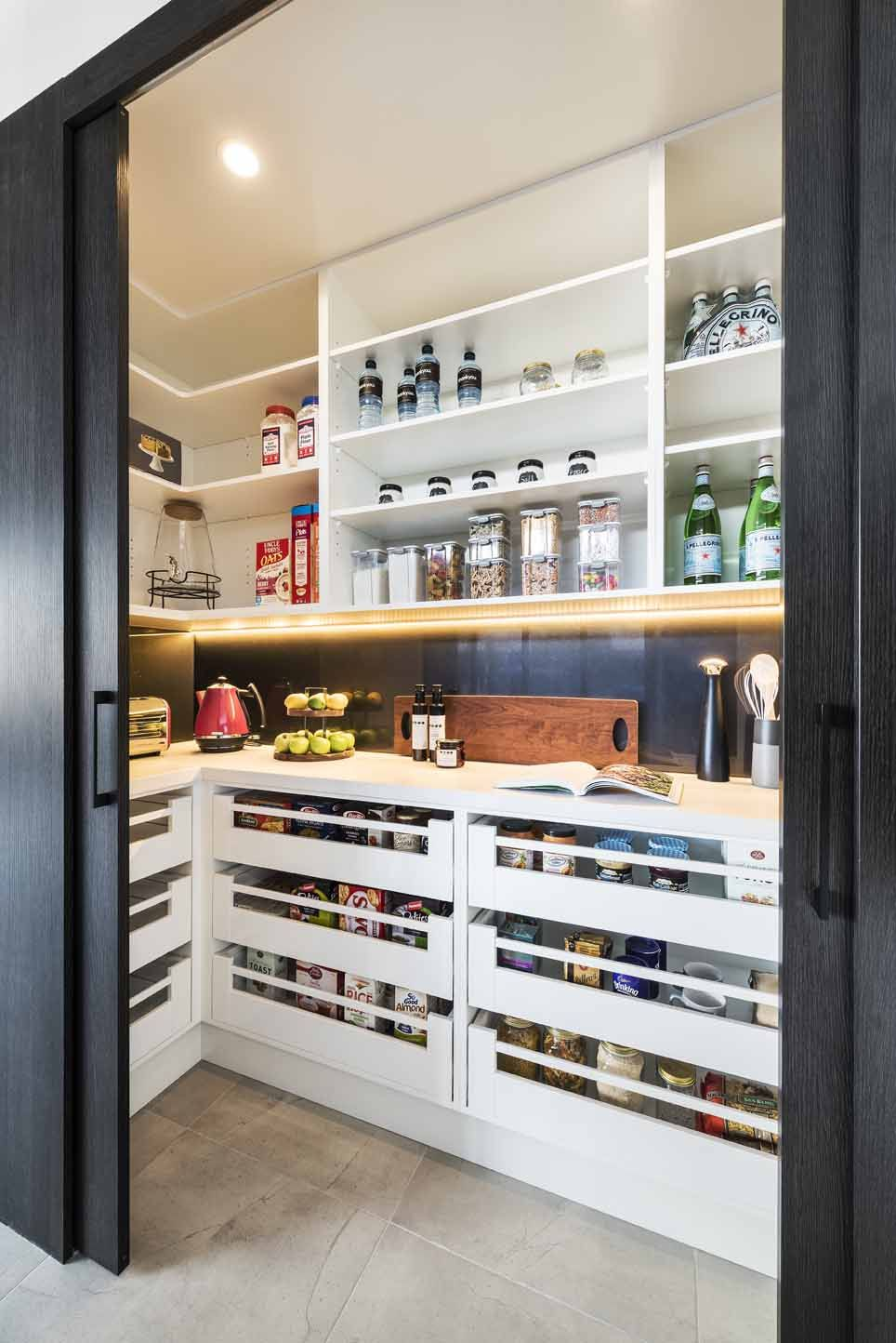 Kitchen storage meets style with Rosemount Kitchens #pantryshelving
